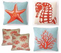 carons beach house sea life pillows in tangerine tango Coastal Colors, Coastal Style, Seaside Decor, Coastal Decor, Color Plan, Beach Cottages, Room Themes, Beach Themes, Beach House