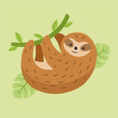 Lazy weekend has starting!  Who loves cute sloths? :) #sloth #vector #illustration  #animal #lazy