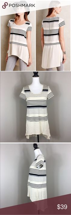 Anthropologie Deletta Gradient Stripe Tee in Black Anthropologie Deletta Gradient Stripe Tee in Black. Size medium. Approximate measurements flat laid are 29' front length, 34' back length, and 18' bust. Pre-owned condition with no major issues or flaws. The content tag has been cut out.  ❌I do not Trade 🙅🏻 Or model💲 Posh Transactions ONLY Anthropologie Tops Blouses
