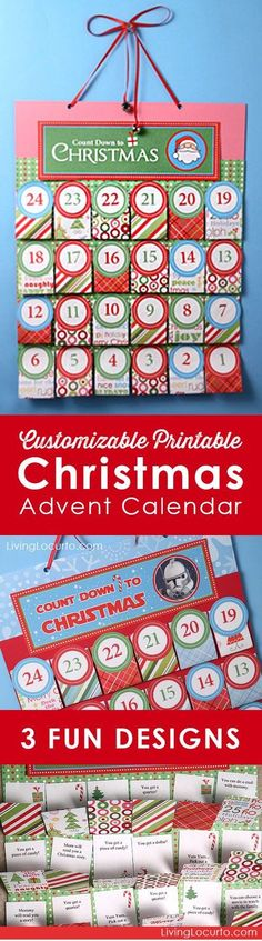 Printable DIY Christmas Advent Calendar. Personalize each day before printing! Choose from Santa, Nativity or Star Wars themes. Fun Holiday Paper craft. #christmas #advent #calendar #printables #freeprintable #free #kids #gift #diy #crafts #LivingLocurto Diy Christmas Paper Decorations, Christmas Paper Crafts, Family Christmas Gifts, Holiday Crafts For Kids, Paper Crafts For Kids, Simple Christmas, Holiday Fun, Christmas Crafts, Diy Crafts