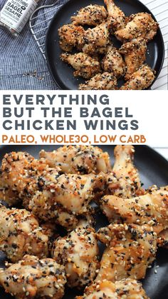 Healthy Recipes Everything but the bagel chicken wings are a family friendly recipe that's simple and delicious. It's Paleo, and this low carb chicken wing recipe is baked and not fried. The perfect paleo appetizer, snack or game day recipe! Crispy Orange Chicken Recipes, Whole 30 Chicken Recipes, Whole 30 Recipes, Paleo Chicken Recipes, Turkey Recipes, Whole 30 Meals, Paleo Fried Chicken, Whole 30 Snacks, Hamburger Recipes