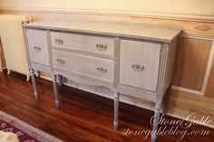 The base of the buffet was painted with Annie Sloan Chalk Paint in Paris Grey and gently antiqued with Annie Sloan Clear and Dark Wax. Chest Furniture, Grey Furniture, Chalk Paint Furniture, Upcycled Furniture, Bathroom Furniture, Furniture Projects, Furniture Makeover, Vintage Furniture, Furniture Design