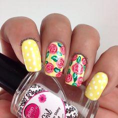 Instagram photo by marnailart #nail #nails #nailart Pretty Nail Colors, Pretty Nail Designs, Pretty Nails, Yellow Nails, Prom Nails, Flower Nails, Gold Nails, Cool Nail Art, Nail Trends