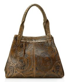 Brown Tooled Vaquetta Leather Satchel