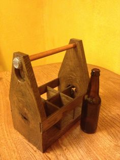 Recycled Solid Oak Wood Beer 6Pack Carrier by FirstRuleBrewCo, $29.99  Great anniversary gift or groomsmen gifts