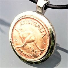 1962 Australian Copper Penny set flat in Silver Tone Bezel with Silver Plated Ball Chain and Lobster Clasp, Vintage Australian Coin Necklace by BrownJewels on Etsy