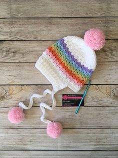 A personal favorite from my Etsy shop (null) 12 Months, Little Girls, Winter Hats, My Etsy Shop, Crochet Hats, Rainbow, Baby, Handmade, Rainbows