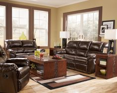 Rouge Durablend Mahogany Reclining Living Room Group By Signature Design Ashley Leather Sofa