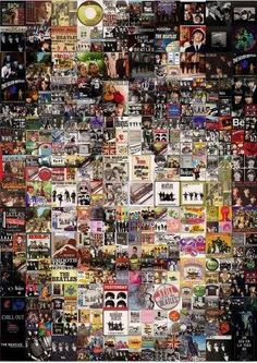 John Lennon collage assembled from Beatles Album Covers. I have no idea who the artist is. But it's very well done. Les Beatles, Beatles Art, John Beatles, Beatles Poster, Great Bands, Cool Bands, John Lenon, The Fab Four, Abbey Road