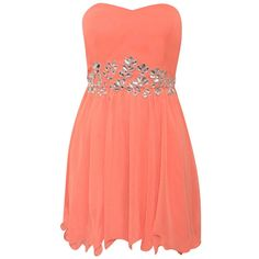 Strapless Embellished Chiffon Dress in Coral ($14) ❤ liked on Polyvore