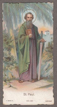 Paul Antique Dutch Holy Prayer Card Catholic by Religious Pictures, Religious Art, Vintage Holy Cards, Vintage Art, Paul The Apostle, Religion Catolica, Saints And Sinners, World Religions, Prayer Cards