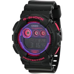 Casio G-Shock Big Case Super  Black & Purple Unisex Watch (115 CAD) ❤ liked on Polyvore featuring jewelry, watches, water resistant watches, casio wrist watch, chronograph dial watch, purple jewelry and digital wrist watch