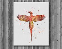 Harry Potter Poster - Phoenix watercolor, Art Print, instant download, Watercolor Print, poster