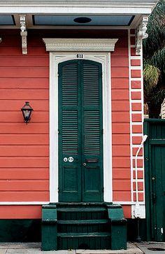 French Quarter shotgun house door