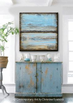GICLEE PRINT Blue Abstract Painting Blue Brown Modern Urban Canvas Print Coastal Beach Artwork Light Blue Beige Wall Decor LARGE Select Sizes - Christine Krainock - Christine Krainock Art - Contemporary Art by Christine - 1