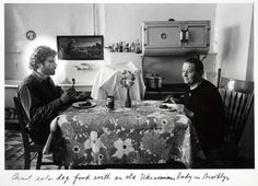 Duane Michals, Christ eats dog food with an old Ukrainian lady in Brooklyn. From Christ in New York, 1981, 4 of 6