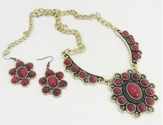 Gold and Red vintage medallion necklace with earrings set $10