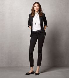 Pair Ann Taylor's Shawl Collar Jacket with slim ankle pants for a fresher take on suiting.