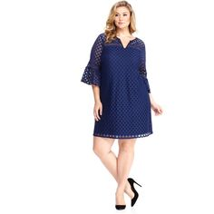 Maggy London London Times Curve Mila Shift ($88) ❤ liked on Polyvore featuring plus size women's fashion, plus size clothing, plus size dresses, navy, plus size, plus size shift dress, shift dresses, blue dress and blue plus size dress