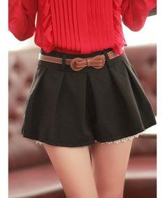 Fancy - Women Black Cotton Floral Hem Short Pant With Belt