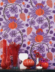 Maharani wallpaper from Osborne and Little - available to buy online from Tangletree Interiors, the UK's leading supplier of designer wallpaper, fabric and paint. Osborne And Little Wallpaper, Dog Wallpaper, Wallpaper Online, Fabric Wallpaper, Pattern Wallpaper, Bedroom Wallpaper, Application Pattern, Burke Decor, Orange And Purple