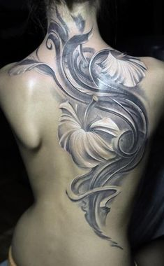 Hibiscus black and grey tattoo back