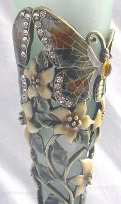 Passiflora Tall Green & Amber Perfume Bottle with Jeweled Butterfly