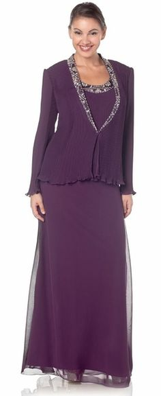 Chiffon Plum Mother of Bride Dress Long Sleeve Jacket Sequin Jewels $237.99