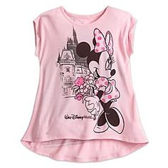 Minnie Mouse Sleeveless Tee for Girls - Walt Disney World | Disney Store Soft as a summer breeze, this frothy pink tee shirt features a radiant Minnie Mouse posing with glittering posies near Cinderella Castle on the front, while on the back, Mickey waves hello to his best gal.