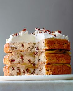 Three-Tier Candied-Pecan Cake with Brown-Butter Pears Recipe -- top with whipped cream just before serving.