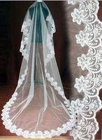 In Stock Veu De Noiva Longo Romantic Soft Tulle White/Ivory Appliques Edge Bridal Veils Long Bridal Accessorie 2015 CPA091