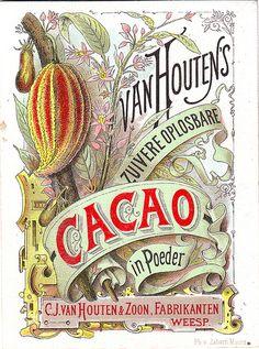 Advertising card for Van Houten Cacao, Vintage Packaging, Vintage Labels, Vintage Ephemera, Vintage Paper, Pub Vintage, Vintage Signs, Vintage Images, Vintage Prints, Vintage Posters
