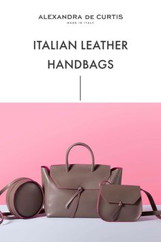 Are you looking for a designer leather handbag? Click through to check out these handbags, handmade in Italy with smooth Italian Leather Handbags, Designer Leather Handbags, Brown Leather Handbags, How To Make Handbags, Leather Design, Louis Vuitton Damier, Ballet Flats, Bucket Bag, Satchel