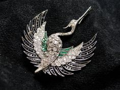 Estate Platinum Diamond Emerald Phoenix Heron Figural Bird Pin, 3ct. Diamonds in Jewelry & Watches, Vintage & Antique Jewelry, Fine, Art Nouveau/Art Deco 1895-1935, Pins, Brooches | eBay