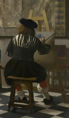 The Art of painting (detail), Johannes Vermeer (Page analyses Vermeer's painting technique.)