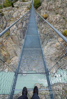 Hanging suspension bridge Massaschlucht Swiss Alps Switzerland - Hängebrücke über die Massaschlucht Schweiz