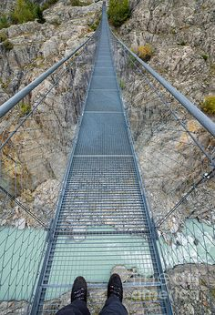 Hanging suspension bridge Massaschlucht Swiss Alps Switzerland - Hängebrücke über die Massaschlucht Schweiz. Click here to purchase a poster, print or canvas print: http://matthias-hauser.artistwebsites.com/featured/hanging-suspension-bridge-massaschlucht-swiss-alps-switzerland-matthias-hauser.html (c) Matthias Hauser hauserfoto.com