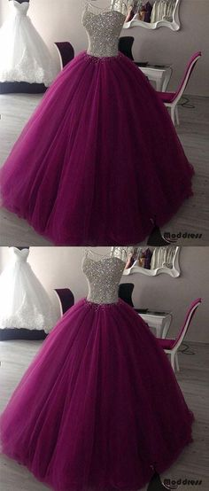 Sweetheart Long Prom Dress Tulle Purple Ball Gowns Sequins Formal Evening Dresses,HS441 #dresses #promdresses #fashion #shopping #eveningdresses #prom