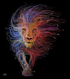 Figuras con miles de cables por Charis Tsevis #computergraphics #photoshop #illustration #lion #skills #graphics
