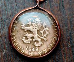 Vintage Czechoslovakia Coin Pendant. $19.00, via Etsy.