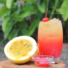 Exotic Passion Watermelon Cocktail - For more delicious recipes and drinks, visit us here: www.tipsybartender.com