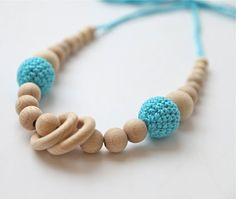 Blue cyan/ aqua nursing rings necklace. Girls crochet by nihamaj need something for J to chew on. like these colors.