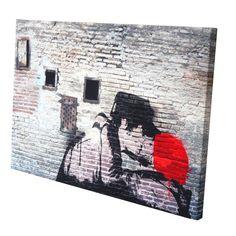 Pop Art Banksy Paar Mauer mit Fenstern...eigene Fotos im Stil des berühmten Straßenkünstlers Banksy