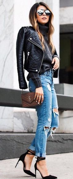 #thanksgiving #outfits Leather Bomber Jacket // Grey Turtleneck Sweater // Destroyed Jeans // Black Pumps