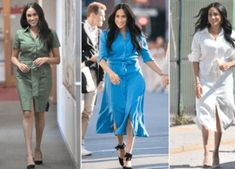 Meghan Markle wears five different shirt dresses in Africa - The World News Daily Five Months Pregnant, Trench Dress, One Piece Outfit, Second Child, Navy Color, Cashmere Scarf, Meghan Markle, Dress Making, New Baby Products