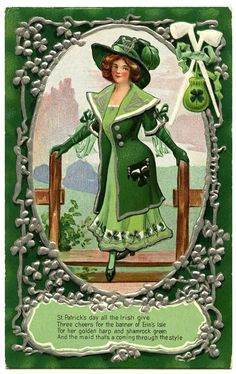 st patrick's day vintage images | Vintage St Patrick's Day Graphic – Irish Woman