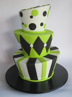 White, Lime and Black Stripe, Harlequin & Dots Topsy Turvy Cake - Love this but would do it in white, black, and red