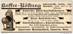 Original-Werbung/Inserat/ Anzeige 1895 - KAFFEE-RÖSTUNG/EMMERICHER PATENT-KUGELKAFFEEBRENNER - ca. 90 X 35 mm