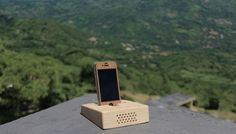 """dock speaker , naturally amplifies,lila-houd mini eco-friendly amplifier for mobile devices by houd  """"smartphone sound anywhere everywhere""""  www.houdsound.com #houd #wood #amplifiar #iphone #natural"""