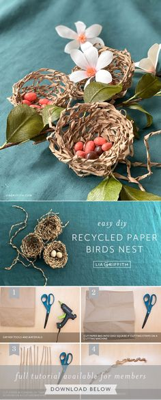 Diy Projects Easter, Easter Crafts, Easter Table Decorations, Diy Party Decorations, Diy Christmas Ornaments, Holiday Crafts, How To Make A Paper Bag, Paper Flower Tutorial, Easter Crochet